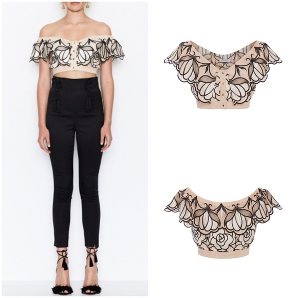"390b589cbf9ac8 Alice McCall Tops - Alice McCall Embroidered ""Let Your Love Flow"" Crop"